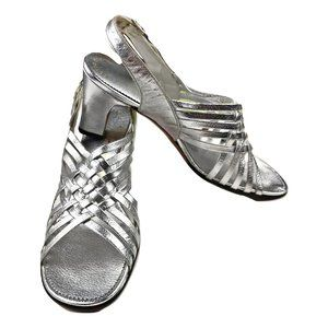 VTG Joseph Magnin 7N Silver Shiny Strappy Heels